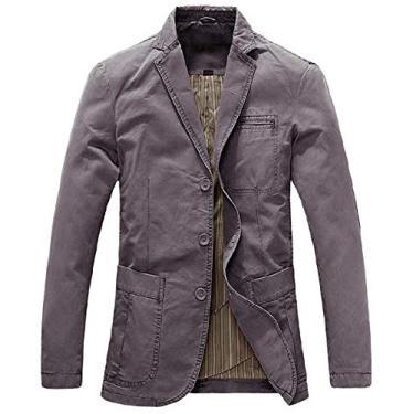 Blazer masculino SELX Plus Size Slim Fit Algodão Casual Sólido Business Dress Blazer Jaqueta Esportiva, Cinza, X-Small