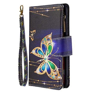 Capa carteira para LG K51 [zíper pintado][9 compartimentos para cartão] Capa de celular com flip de couro PU protetora -FQ10
