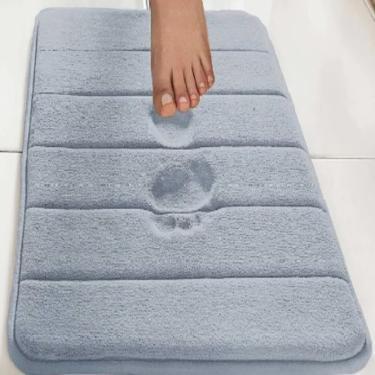 Imagem de Tapete De Banheiro Antiderrapante Emborrachado Macio Super Soft Camesa Azul 60x40cm  unissex
