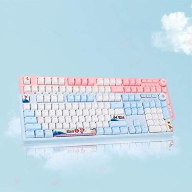 Teclado mecânico rosa para jogos com retroiluminação LED RGB branco, painel de sucção magnética, teclas sub de tinta PBT e rolo N-key, teclas transparentes de 104 teclas PBT para PC/laptop (interruptor A-azul)