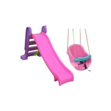 Imagem de Escorregador Infantil 3 Degraus Com Balanço Bebê Rosa - Diversão Garantida