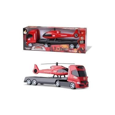 Imagem de Brinquedo Infantil Caminhao Trans Aereo Resgate Helicoptero Orange Toys