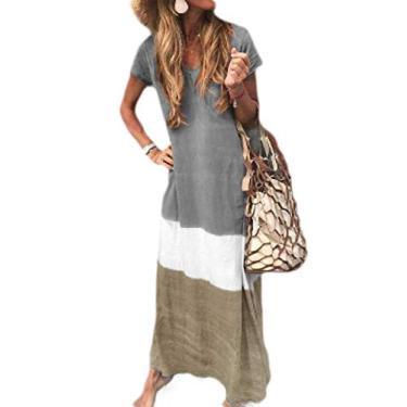 Vestido longo de verão com manga curta e gola V da UUYUK, Cinza, Small