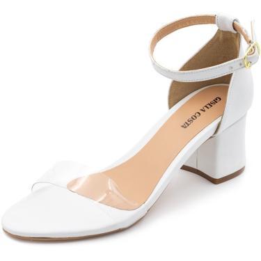 Sandália Salto Baixo Grosso Gisela Costa Branco  feminino