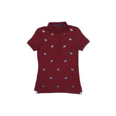 Camisa Gola Polo Feminina Tassa Gold Vinho 22671 2923df640339c