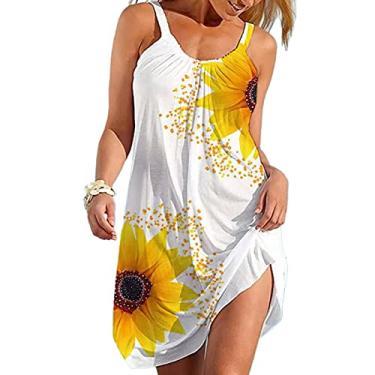 Imagem de maiduoduo01 Mini vestido feminino moderno com estampa de girassol, sem mangas, gola em U, ombro de fora, roupa de praia, branco, P