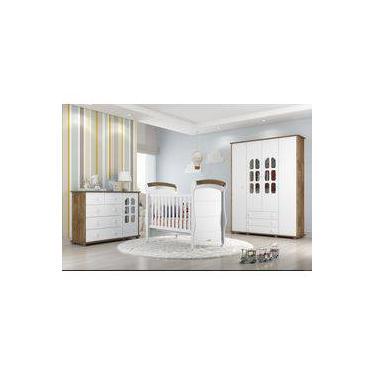 Jogo De Quarto Completo Infantil Baby Matic Móveis Roupeiro Cômoda Berço Branco Acetinado Teka Touch