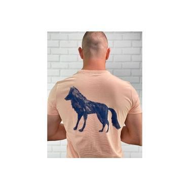 Camiseta Acostamento Básica Lobo nas Costas Nude