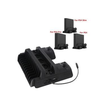 Para PS4 / PS4 Slim / PS4 Pro Suporte Vertical Ventilador de Refrigeração Stand Cooler Dual Controller Charger Station