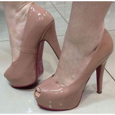 Sandália Pata Salto Alto Fino Nude Rosê Verniz Sola Vermelha