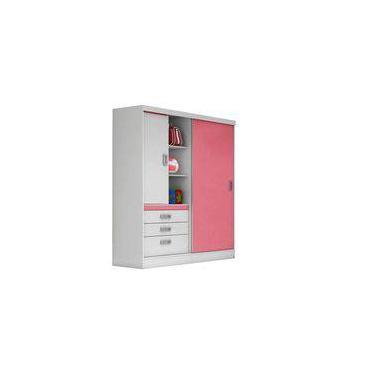 8021d61edb Guarda-Roupa 2 Portas 3 Gavetas Slim Branco Rosa - Demóbile