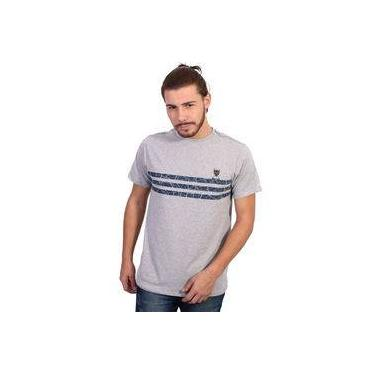 Camiseta New York Polo Club Listrada Cinza Mescla Claro 7cf88560d3e7a