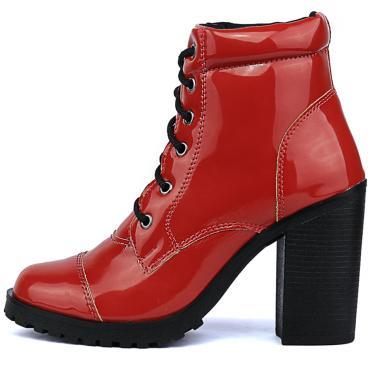 Bota CR Shoes Tratorada Verniz Vermelha  feminino