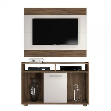 Rack Com Painel Show 52146 - Nogal Trend/Off White