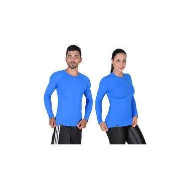 Camiseta Less Now Azul Tam. M Com Proteção Solar 50 Uva/uvb