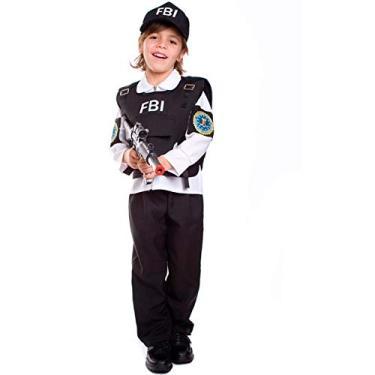 Fantasia de Policial/Agente FBI Infantil Com Boné P 2-4