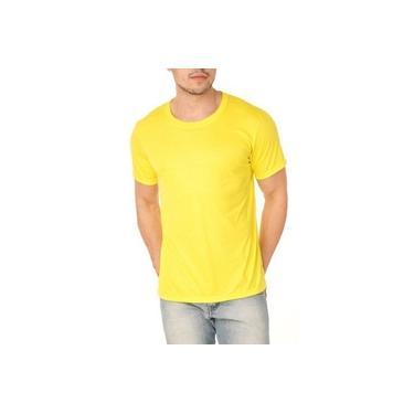 Camiseta Lisa Unissex Manga Curta Algodão Amarelo