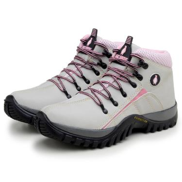 Bota Adventure Feminina Confortável Macshoes 218 Cinza Rosa  feminino