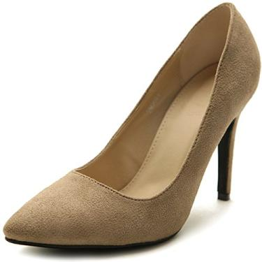 Ollio sapato feminino de camurça sintética bico fino salto alto multicolorido, Arena, 10