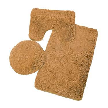 Imagem de Kamonda Conjunto de 3 peças de tapetes de banheiro inclui tapete de banheiro e tampa de vaso sanitário, lavável na máquina, microfibra super macia, tapete de vaso sanitário em forma de U laranja