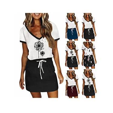 Imagem de SLENDIPLUS Vestido feminino casual de verão com decote em V, manga curta, estampa moderna, emenda, vestido solto com cinto e cordão, #001: branco, XXG