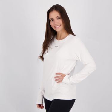 Camiseta Fila Sunprotect UV Feminina Manga Longa Branca - G