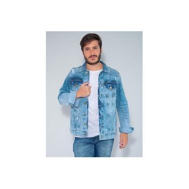 Jaqueta Jeans Destroyed Revanche Masculina Algernon Azul