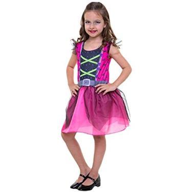 Imagem de Fantasia Bruxa Infantil Rosa Halloween Menina 2 a 12 anos (M 5-8)