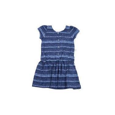 Vestido Infantil Malha Estampada Listrada Strass - Marinho