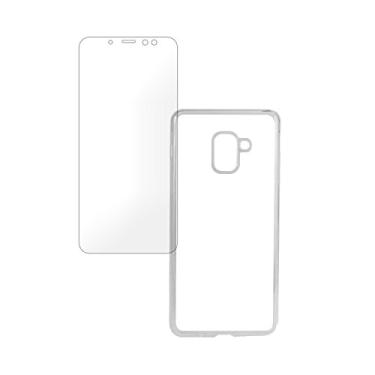 Kit Capa (+Película de Silicone) para Galaxy A8 Plus (2018) em TPU - MM Case - Transparente