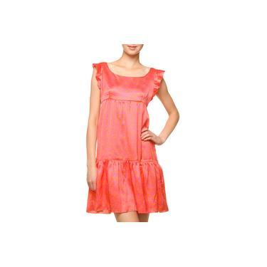 Vestido Salinas Manga Babados Rouge