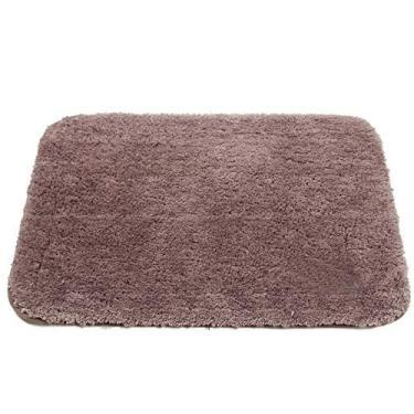 Imagem de Tapete de banheiro branco macio Shag marrom absorvente de água com borracha antiderrapante lavável tapete de banheiro para sala de estar 81 x 150 cm Tapete de banheiro e quarto - tamanho longo
