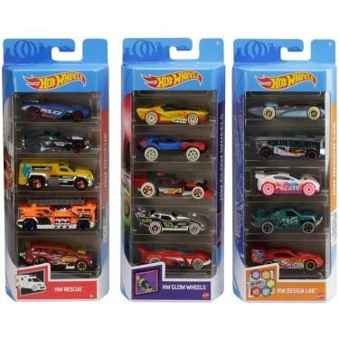 Imagem de Hot Wheels Variety Fun 5 Pack Bundle de 15 1:64 Veículos em Escala com 3 Temas HW Rescue, HW Glow Wheels & HW Design Lab para Colecionadores & Crianças 3 Anos De Idade & Up