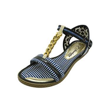Sandália Romântica Calçados Rasteirinha Corrente Azul/branco (37)