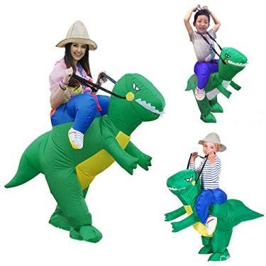 Imagem de Faxiang Fantasia Inflável de Dinossauro, Bonecas, Fantasias de Desenho Animado para Festa, Dinossauro, XS