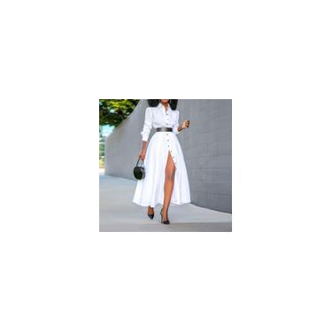 Imagem de Vestido casual feminino vonda camisa de manga comprida com gola virada para baixo vestido longo e tamanho folgado vestidos Branco M