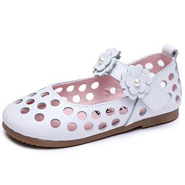 Imagem de Minibella Sapatos femininos vazados de balé floral Mary Jane princesa, Branco, 8.5 Toddler