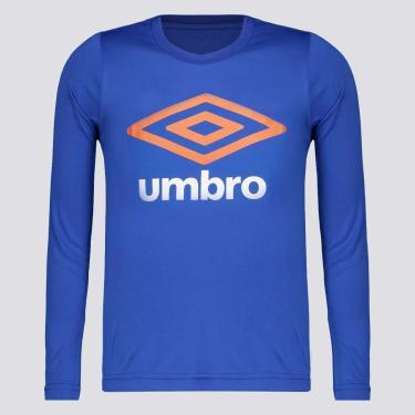 Camiseta Umbro Basic UV Manga Longa Juvenil Azul - 14 ANOS