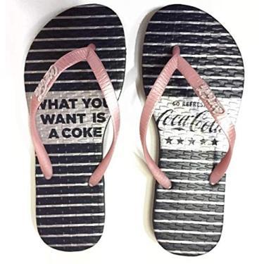 Chinelo Feminino Coca Cola Shoes Listras Preto e Cinza CC2931