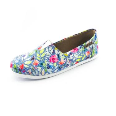 Alpargata Quality Shoes 001 Floral 214 Azul  feminino