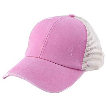 KESYOO Boné de beisebol com rabo de cavalo de malha ajustável Trucker Coque de algodão lavado com estampa de leopardo e cruzado para mulheres e meninas, rosa, 28×18×14CM