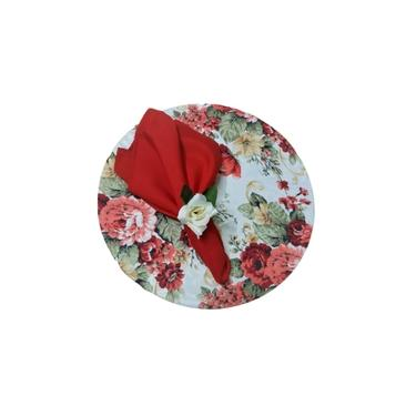 Imagem de Kit Souplast, Redondo Para Mesa Passamani Vermelho/Floral