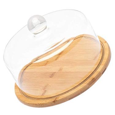 HEMOTON Suporte de redoma de vidro para bolo, sobremesas, bandeja de cloche de madeira de bambu, bandeja de servir muffins com tampa para restaurante, festa de casamento