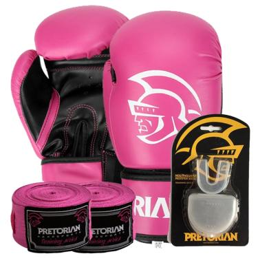 830a5ef3d Kit Boxe First Pretorian Bucal + Bandagem + Luva 10 OZ Rosa