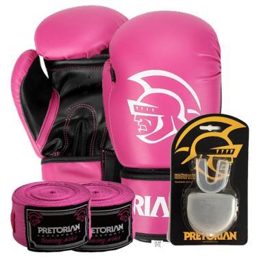 6ea656366 Kit Boxe First Pretorian Bucal + Bandagem + Luva 10 OZ Rosa