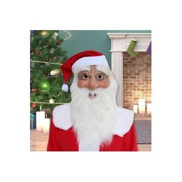 M¨¢scara Papai Noel l¨¢tex macio M¨¢scara Facial Costume Party Cosplay Natal