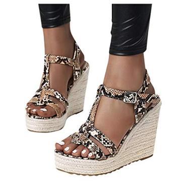 Sandálias Vedolay femininas, sandálias femininas de plataforma casuais com estampa de cobra Espadrille, anabela, bico aberto, sandália de verão, Z5-brown, 9.5-10
