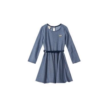 Vestido Curto de Manga com Cinto Cor Azul Marinho Tam 3 - Carinhoso