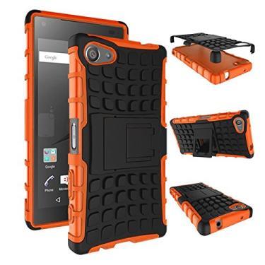 SCIMIN Capa compacta para Sony Xperia Z5, capa para Xperia Z5 Mini, proteção de camada dupla/à prova de choque/resistência a quedas, capa híbrida robusta com suporte para Sony Xperia Z5 de 4,6 polegadas (laranja)