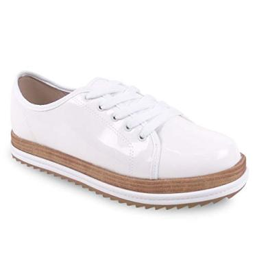 Sapato Feminino Oxford Beira Rio 4196.203 Verniz Premium na cor Branco (39)
